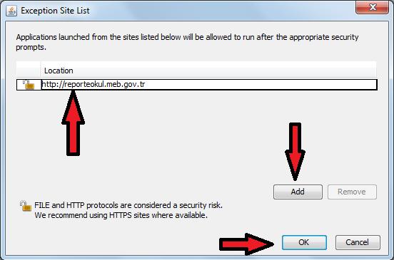 Raporlar Ekranını Exception List e Ekleme