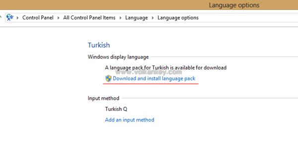 Windows 8 Türkçeleştirme
