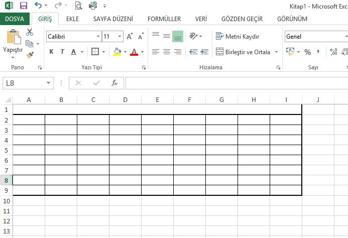 Excel ve Tablo