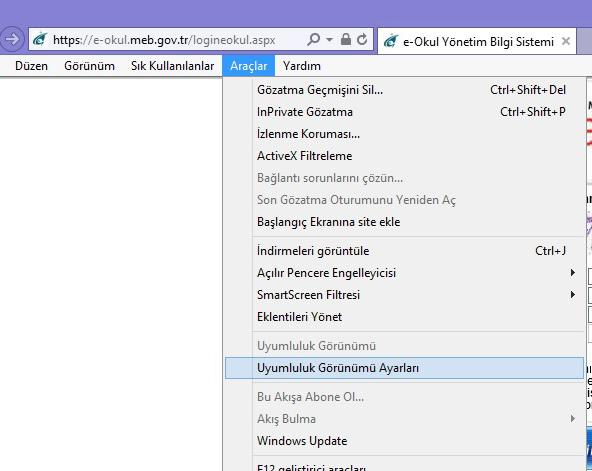 İnternet Explorer 10 Uyumluluk Görünümü Ayarı